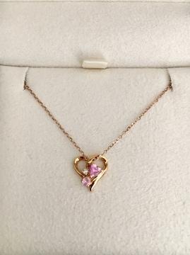 4℃ ダイヤモンド×ピンクサファイア ネックレス K18YG 2.0g