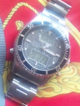 ロレックスサブマリーナタイプELGIN電波ソーラー腕時計アナログ針+デジタル液晶
