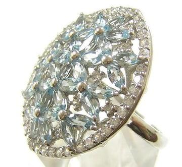 新品 天然ブルートパーズ 指輪 デザインリング 14号