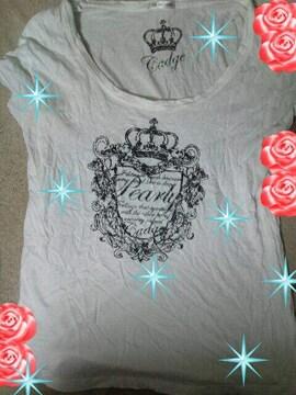 ハニーズ王冠/薔薇ラメ白Tシャツ◆ゴシック/大きいサイズ◆12日迄の価格即決