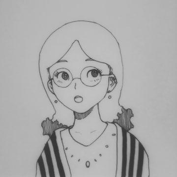 オリジナルイラスト手描きイラスト眼鏡の女の子ハンドメイド自作モノクロアートミニ原画絵