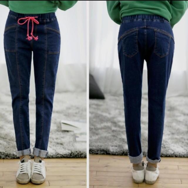 デニムパンツ スリムパンツ ウエストゴム ネイビー L〜2Lサイズ < 女性ファッションの
