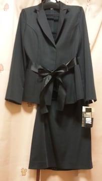 新品ウエストサテンリボンスカートスーツ3点セットL11号