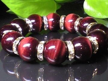 高級レッドタイガーアイ赤虎目石16ミリ金色ロンデル数珠
