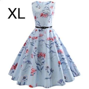 新品☆ベルト付き♪花柄♪ふんわり綺麗ワンピース ブルー XL