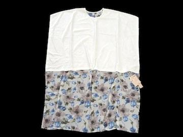 新品 定価7245円 lady made 異素材 ロング丈 切り替え Tシャツ