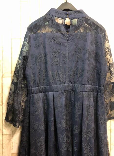 新品☆3L♪紺色の総レースパーティワンピース♪フォーマル☆n988 < 女性ファッションの
