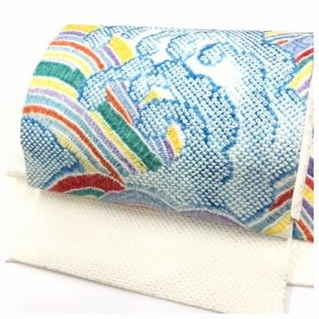 上質 美品 総絞り 波模様 正絹 付け帯 名古屋帯 二部式 簡単装着