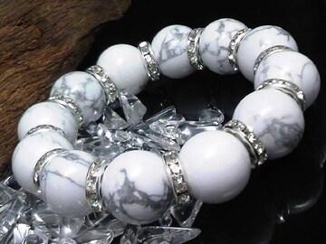 ハウライト16ミリ§銀ロンデル数珠