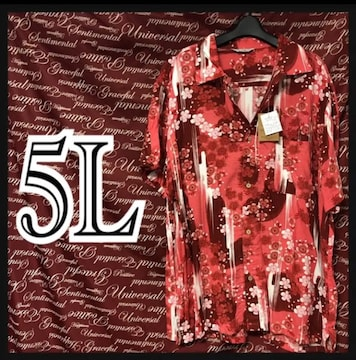 5L・和柄花柄・レーヨンアロハ新品/MC03P‐705