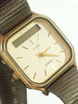 12239/CASIOカシオ★アナデジ☆ミリタリーモデルスクエア型メンズ腕時計ゴールド