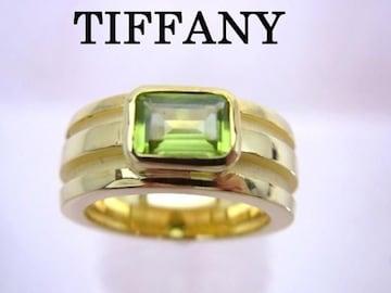 送無 ティファニー Tiffany K18YG ペリドット グルーブ ド リング 9号★dot