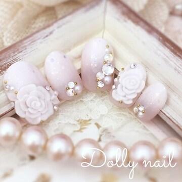 みぢょ!ショートオーバル結婚式ブライダル花嫁ウェディング3D薔薇ナチュラルピンクベース