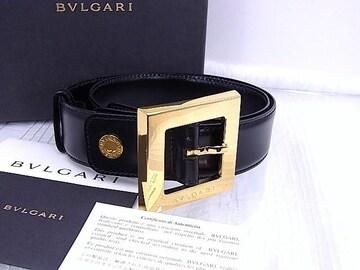 即買い ブルガリ BVLGARI スクエアベルト カーフレザー 黒 女性用★dot