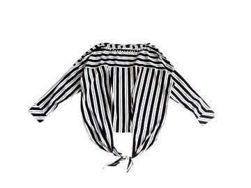 レファレア Lefua lea パール使い ボーダー 黒 裾結び ブラウス