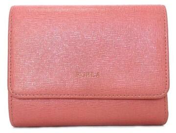 正規フルラ財布三つ折り型押しレザーL地ファスナーレディー