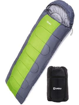 寝袋 夏用 1.8kg フード付き -10度 (ライトグリーン)