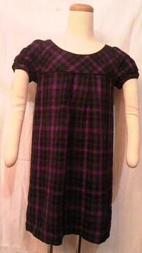 COCODEAL・ココディール〓パフ袖&タータンチェック柄ハイウエスト切替タックAラインワンピース 紫
