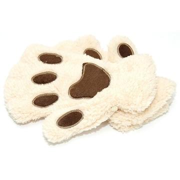 �溺 ふわふわもこもこ かわいい猫の手の手袋 /ベージュ