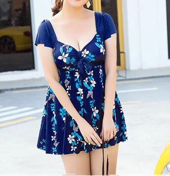 新品【7259】XXXL(大きいサイズ)ネイビーXブルー花柄ワンピース水着